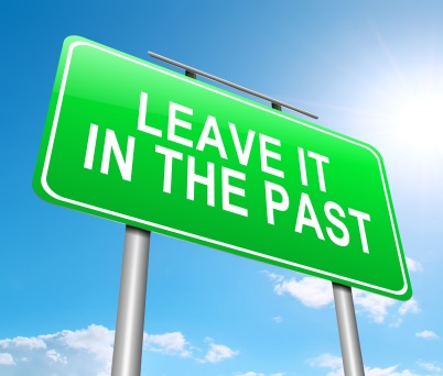Illustration depicting a sign with a leave it in the past concept.