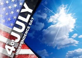 US flag on blue sky with clouds and sunlight with phrase